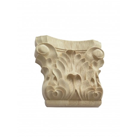 Wooden carved corinthian column, carved onlay