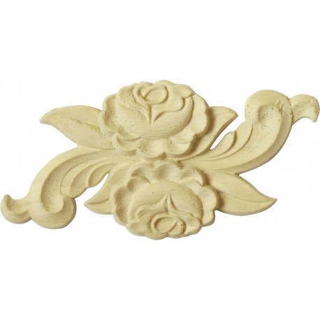 Carved wooden onlay with rose motif