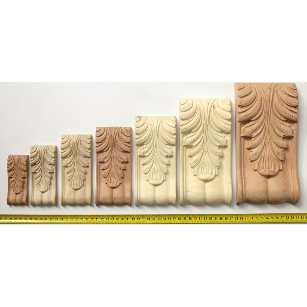Dřevěný vyřezávaný ornament s motivem listu Acanthus