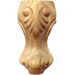 Wooden leg with acanthus