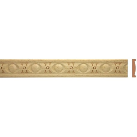 Decorative wood trim moulding with running coin pattern