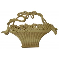 Wooden flower basket with bow