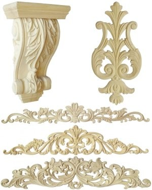 Wood carving, decorative wooden mouldings, rosettes