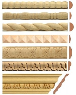 Decorative wood trim moulding repairing antique furniture and door casing